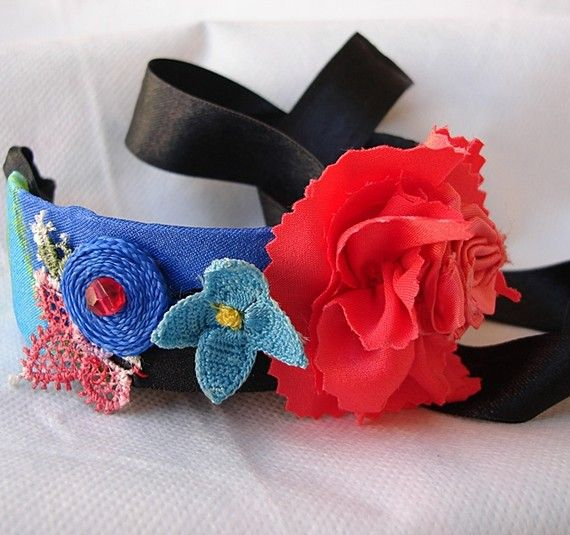 Handmade Flower Embroidered Cuff Bracelet with Ribbon by seragun