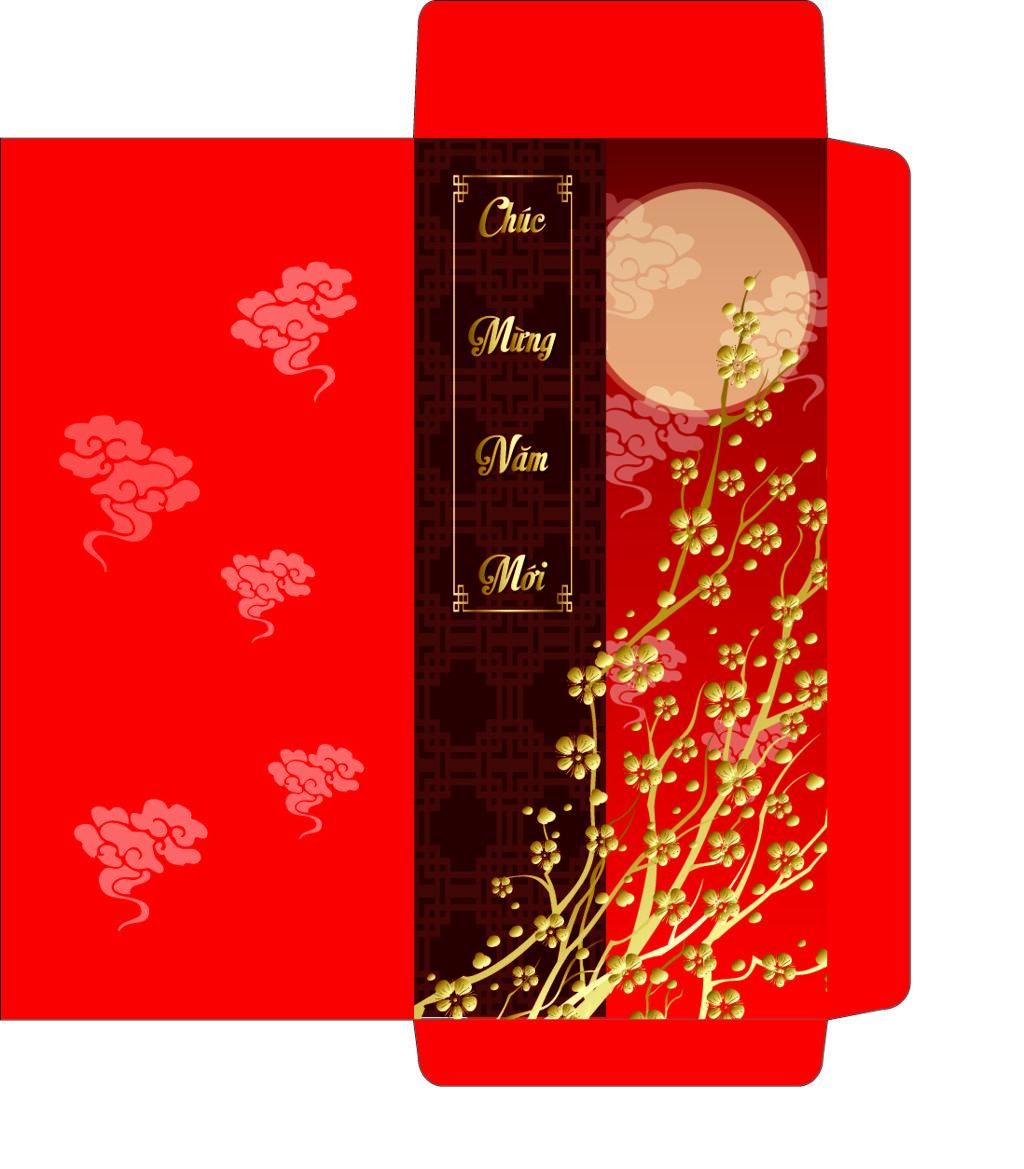 Mẫu bao lì xì Red envelope, New year greeting cards, New