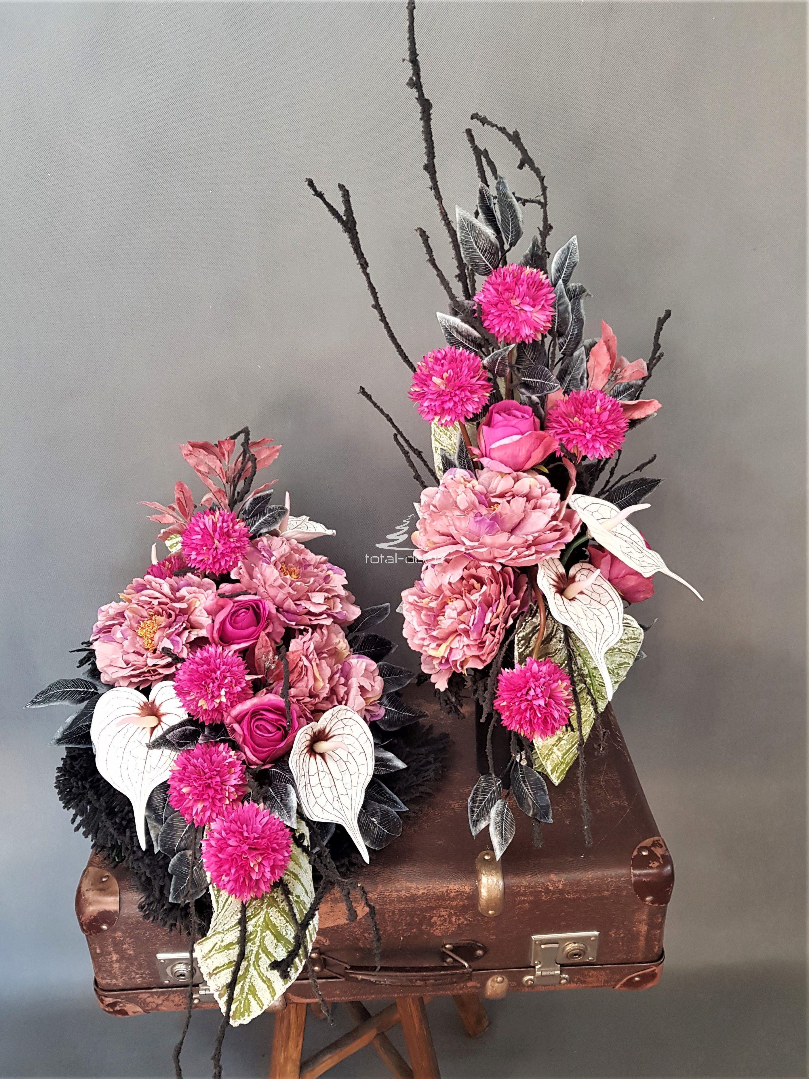 Dekoracje Na Cmentarz Wiazanka Z Bukietem Ikebana Floral Floral Wreath