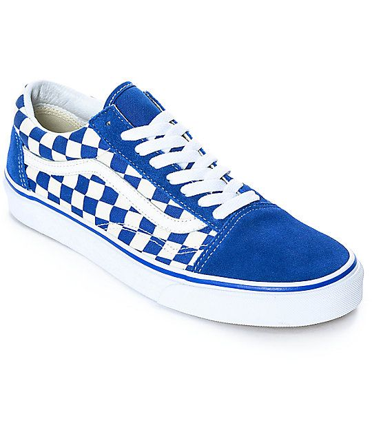 a5e6284eb385f7 Vans Old Skool Blue   White Checkered Skate Shoes in 2019