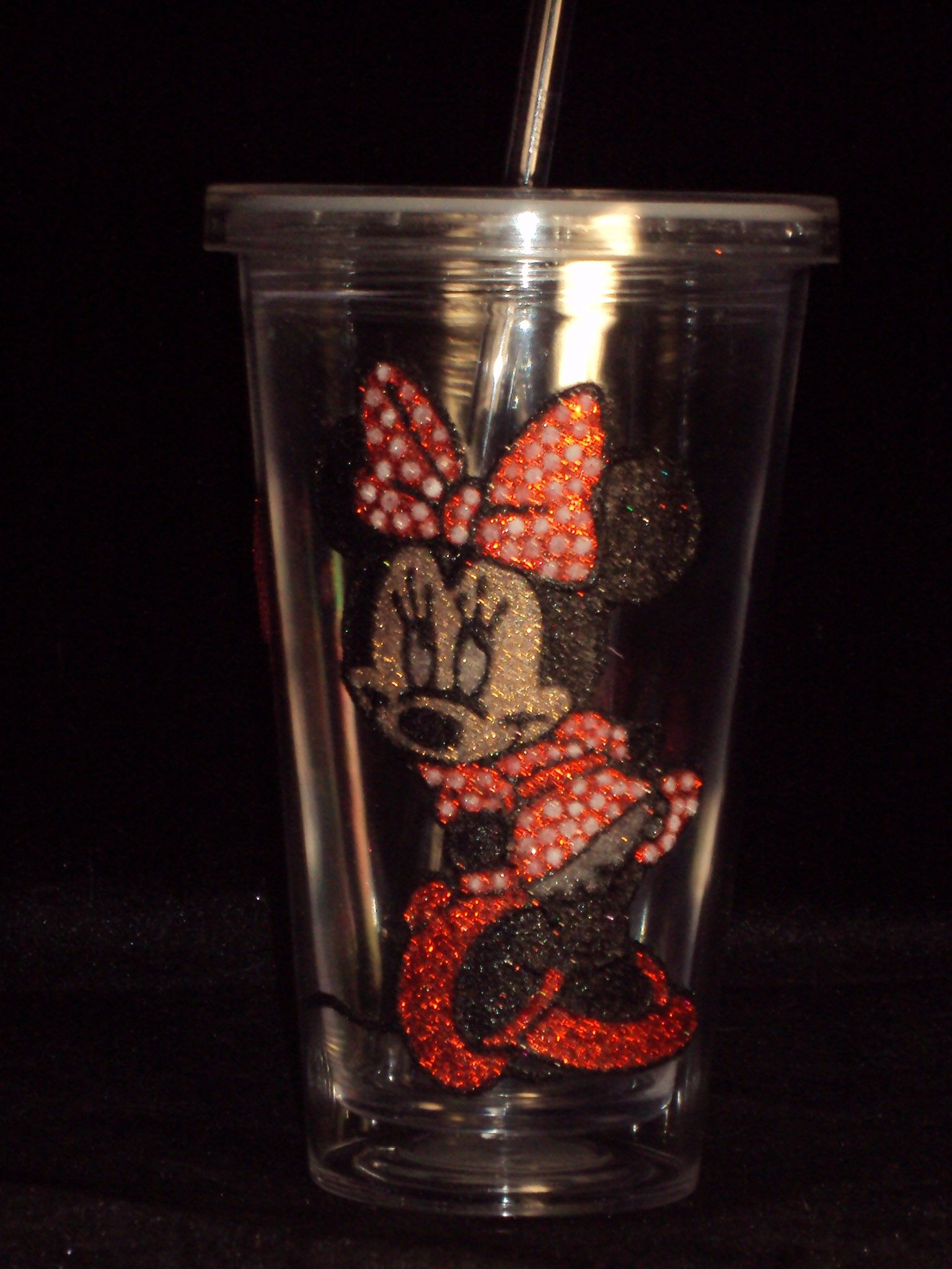 Minnie Mouse Glitter plastic cup with straw £6.50 or any 2