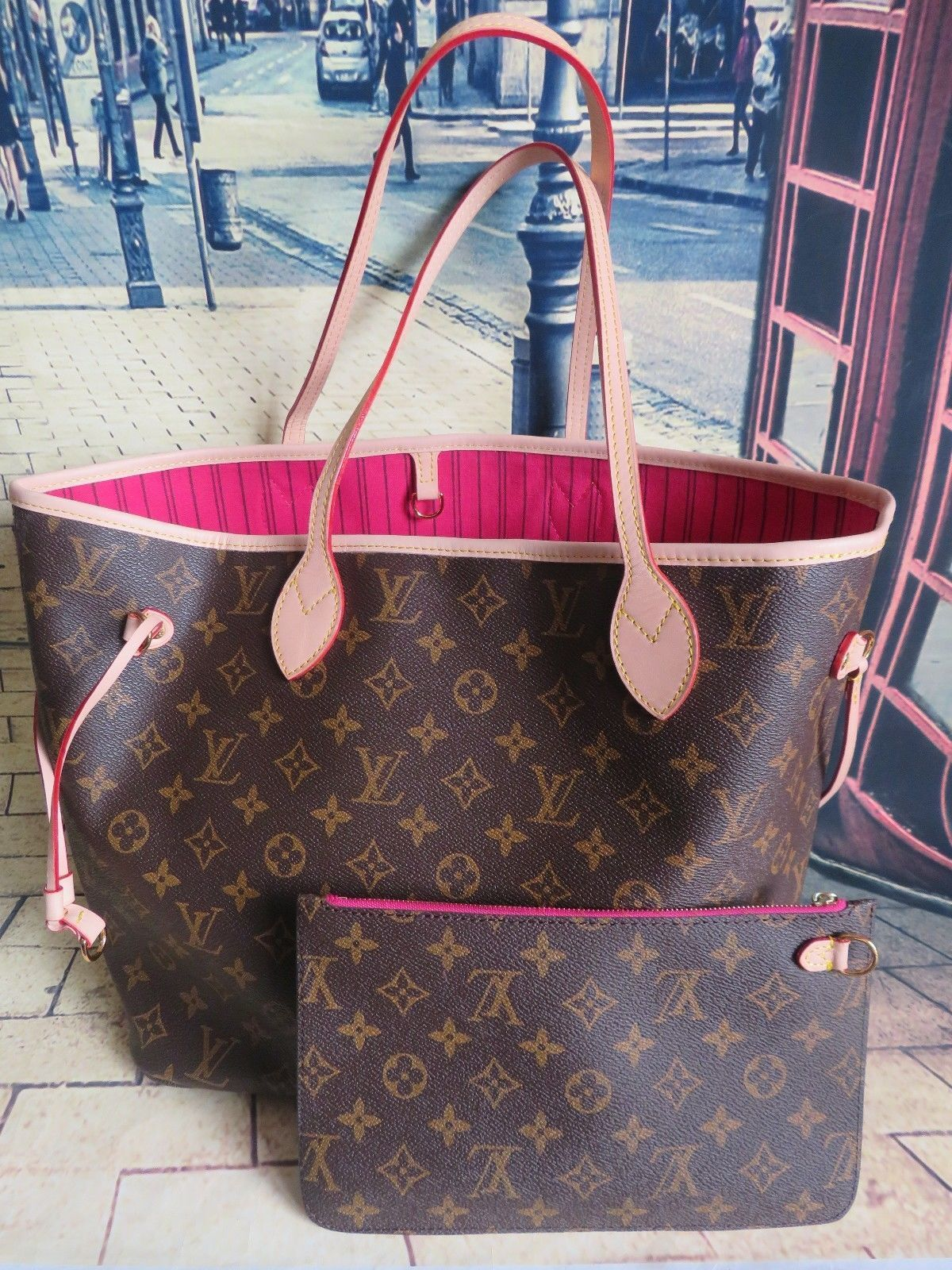 0bf99416d385d Louis-Vuitton-Neverfull-MM-Damier-Ebene-Tote-Handbag-Clutch-Pochette -Dust-Bag