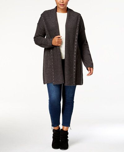 035a12d6ffc318 Style & Co Plus Size Studded Open-Front Cardigan, Created for Macy's ...