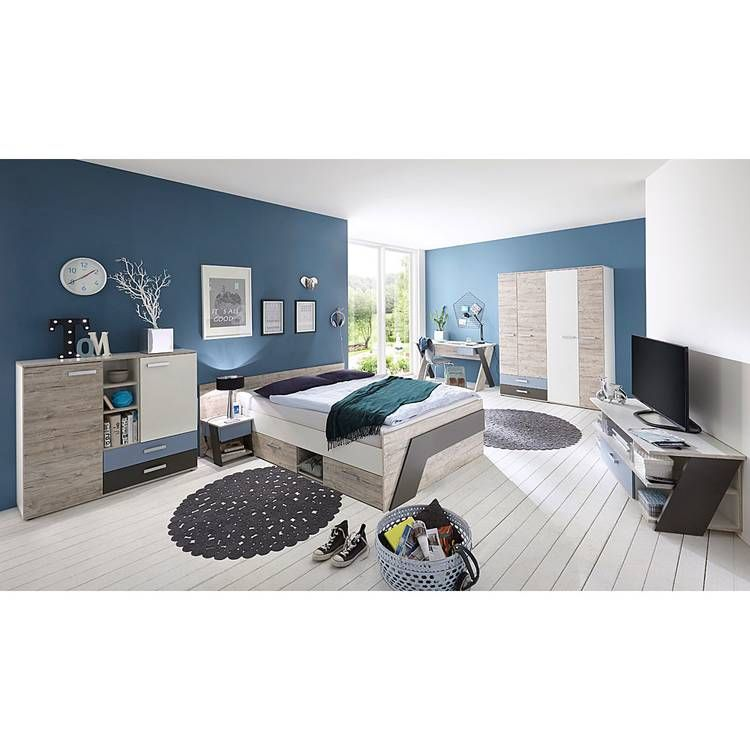 Jugendzimmer Set Mit Bett 140x200 Cm Und Schreibtisch 6 Teilig Leeds 10 In Sandeiche Nb Mit Weiss Lava Und Denim Blau In 2020 Bedroom Design