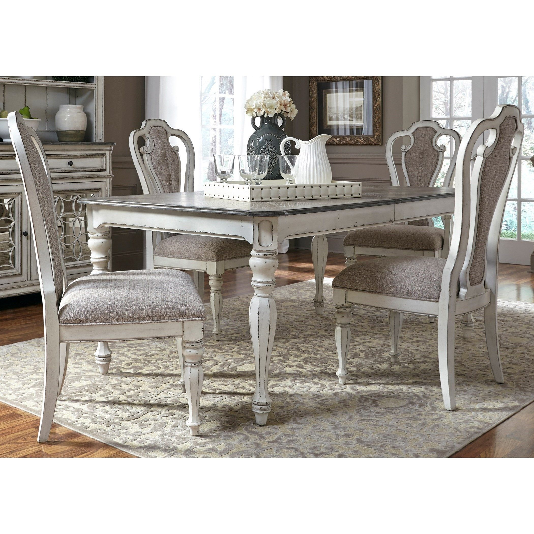 Magnolia Manor Dining 5 Piece Rectangular Table Set With