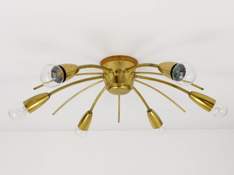 Kalmar sonne sun shaped modernist brass chandelier flush mount kalmar sonne sun shaped modernist brass chandelier flush mount austria 1950s arubaitofo Image collections