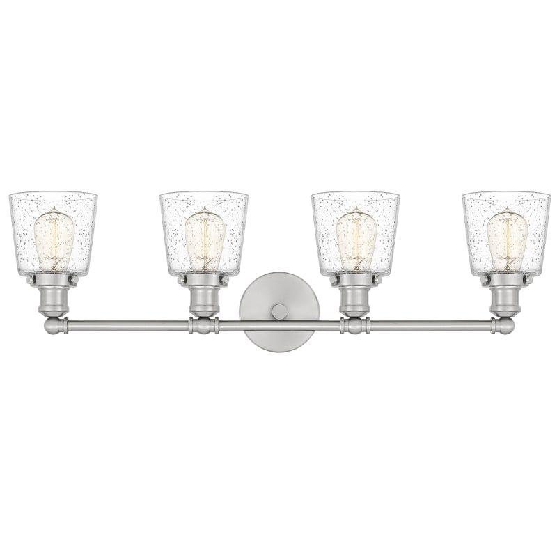 "Photo of Quoizel UNIS8604 Union 4 Light 32 ""Wide Bathroom Basin Light Brushed Nickel Interior Lighting Bathroom Lights Basin Light"
