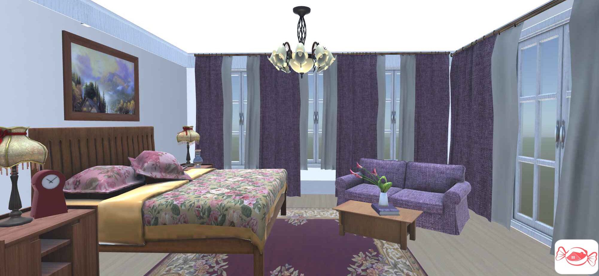 Modern victorian bedroom created with home sweet home 3d app