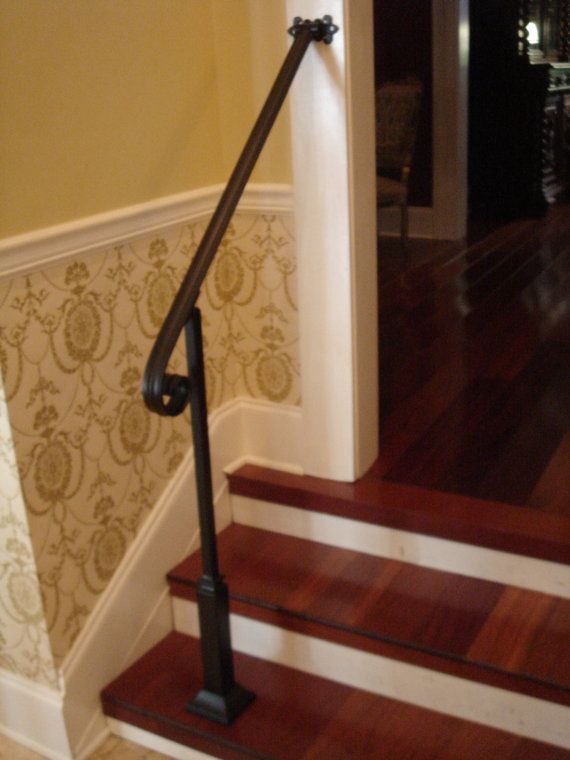 4 Ft Wrought Iron Handrail Stair Step Railing With Wall Post Etsy Wrought Iron Stair Railing Iron Handrails Wrought Iron Handrail