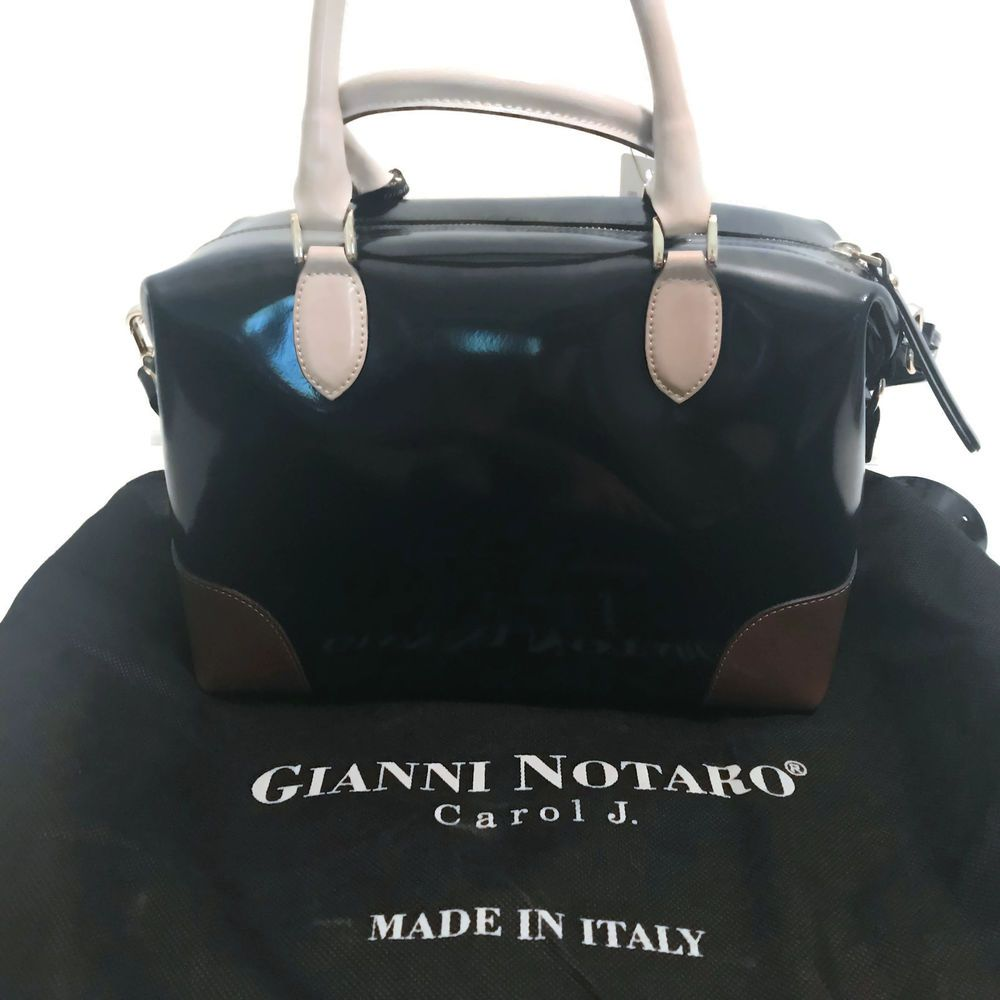 genuine shoes best selling cheap Gianni Notaro Made in Italy Navy Nude Brown Leather Satchel ...
