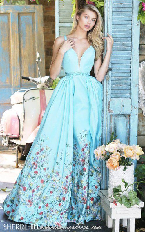 Blue Sherri Hill 51232 Satin Prom Floral Print 2017 Dress