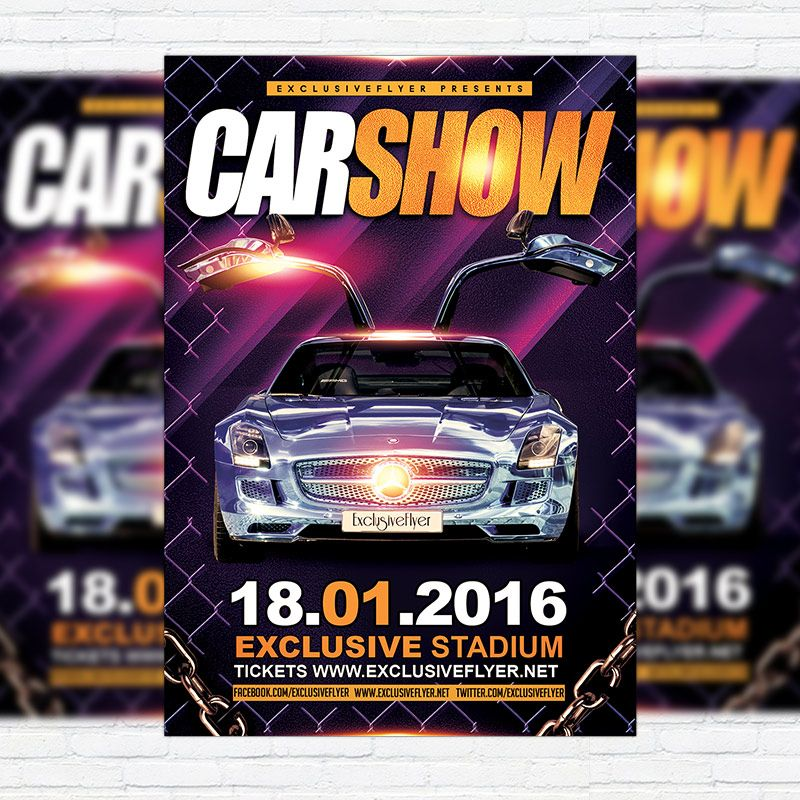 Car Show - Premium Flyer Template + Facebook Cover   - car flyer template