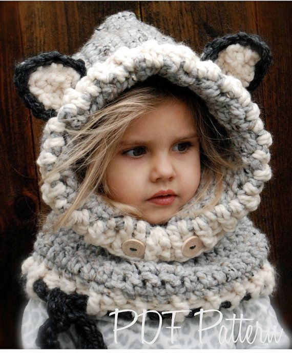 Crochet Pattern Woodlynn Wolf Cowl 1218 Months Toddler Child