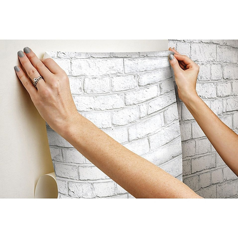Roommates Brick Peel Stick Wallpaper In White Bed Bath Beyond White Wash Brick Peel And Stick Wallpaper White Brick Wallpaper