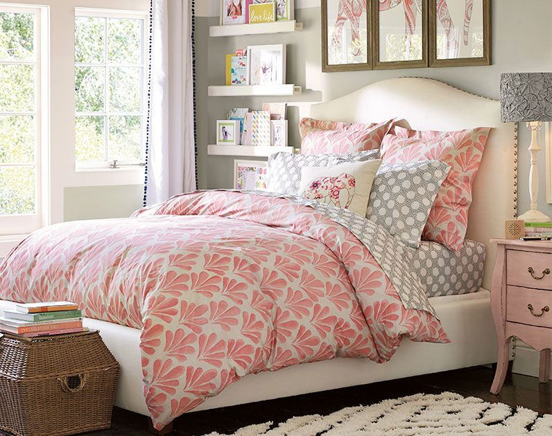 Grey pink white color scheme teenage girl bedroom ideas whimsy pbteen lilah bedroom - A nice bed and cover for teenage girls or room ...