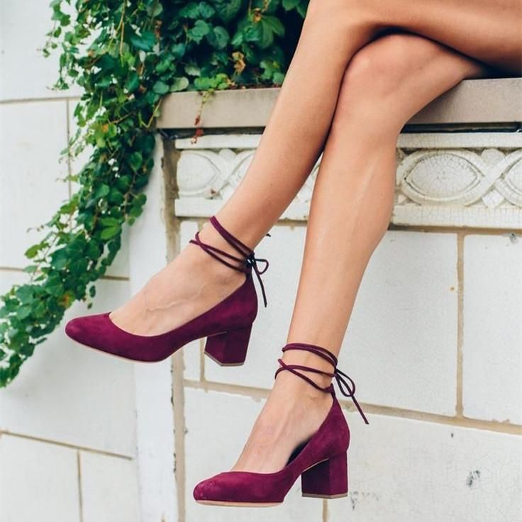 32cf7ded59dd  FSJshoes -  FSJ Shoes Women s Burgundy Suede Chunky Heels Almond Toe Lace  Up Strappy Pumps - AdoreWe.com