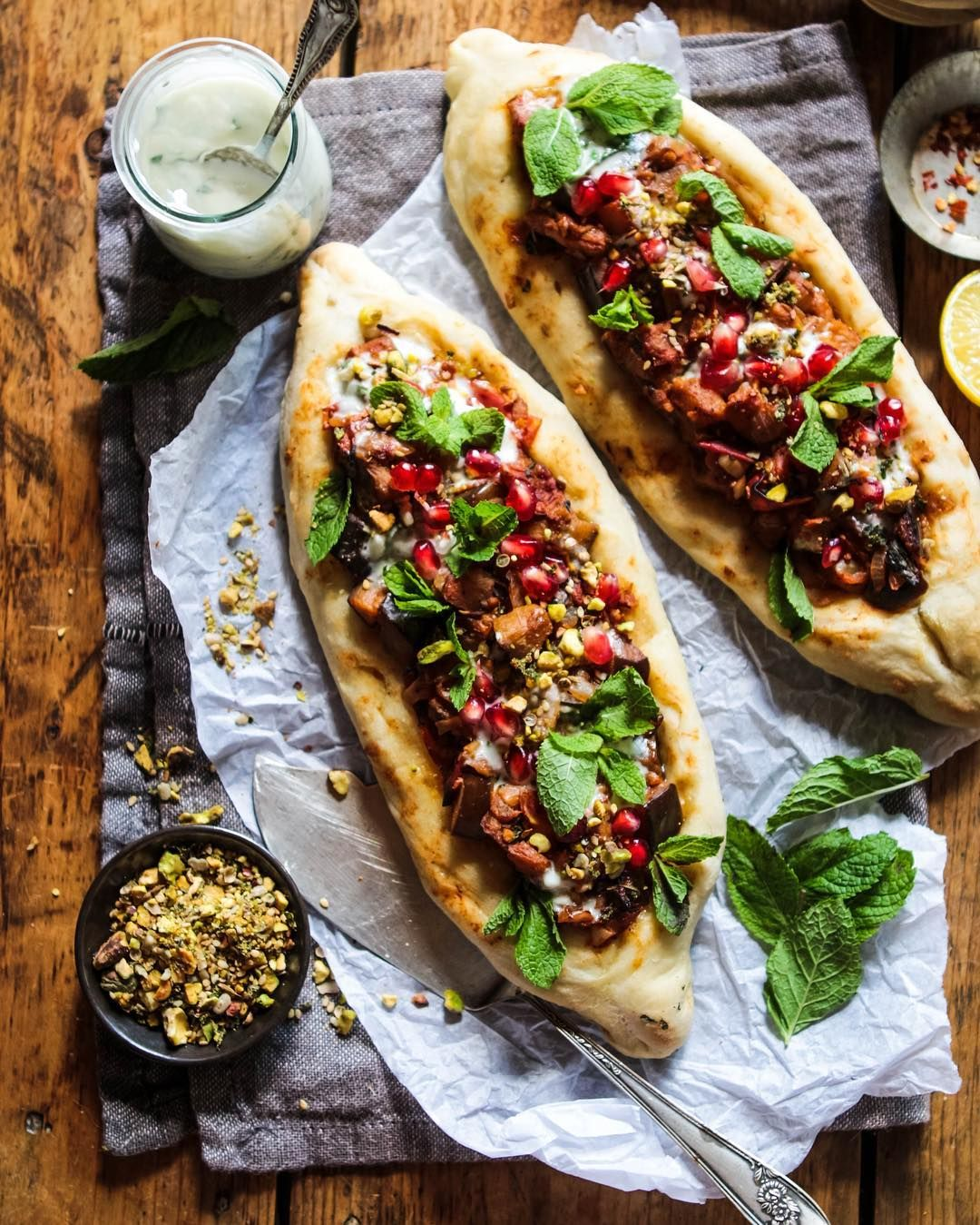 46aac806481b9e My version of Pide (Turkish flatbread pizza) Cute boat shaped flatbreads  topped with spiced aubergine creamy coconut mint dip fresh mint pomegranate  seeds ...