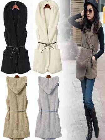 Women Casual Fleece Sleeveless Hooded Sweater Vest With Belt at Banggood