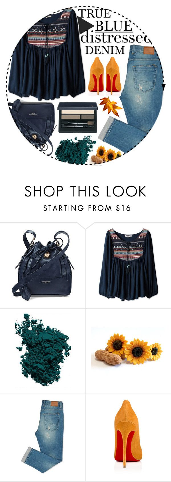 """True Blue: Distressed Denim #3"" by moonlight-shadows ❤ liked on Polyvore featuring Aspinal of London, Chantecaille, Christian Louboutin and Clé de Peau Beauté"