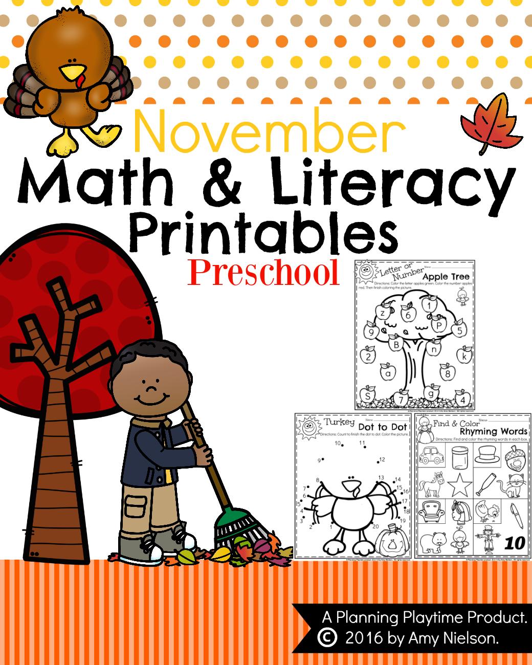 November Preschool Worksheets