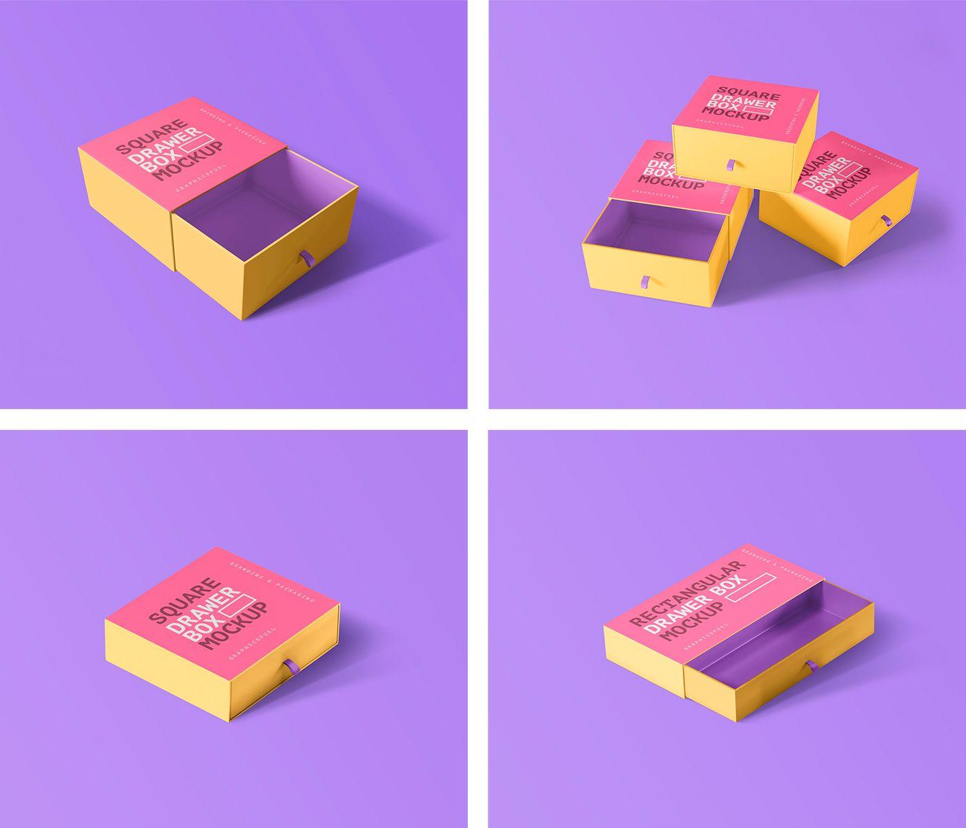 Download Sleeves Drawer Box Mockups Box Mockup Drawer Box Mockup