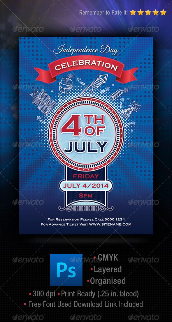 Independence Day 4th of July Flyer Template Flyer template - independence day flyer