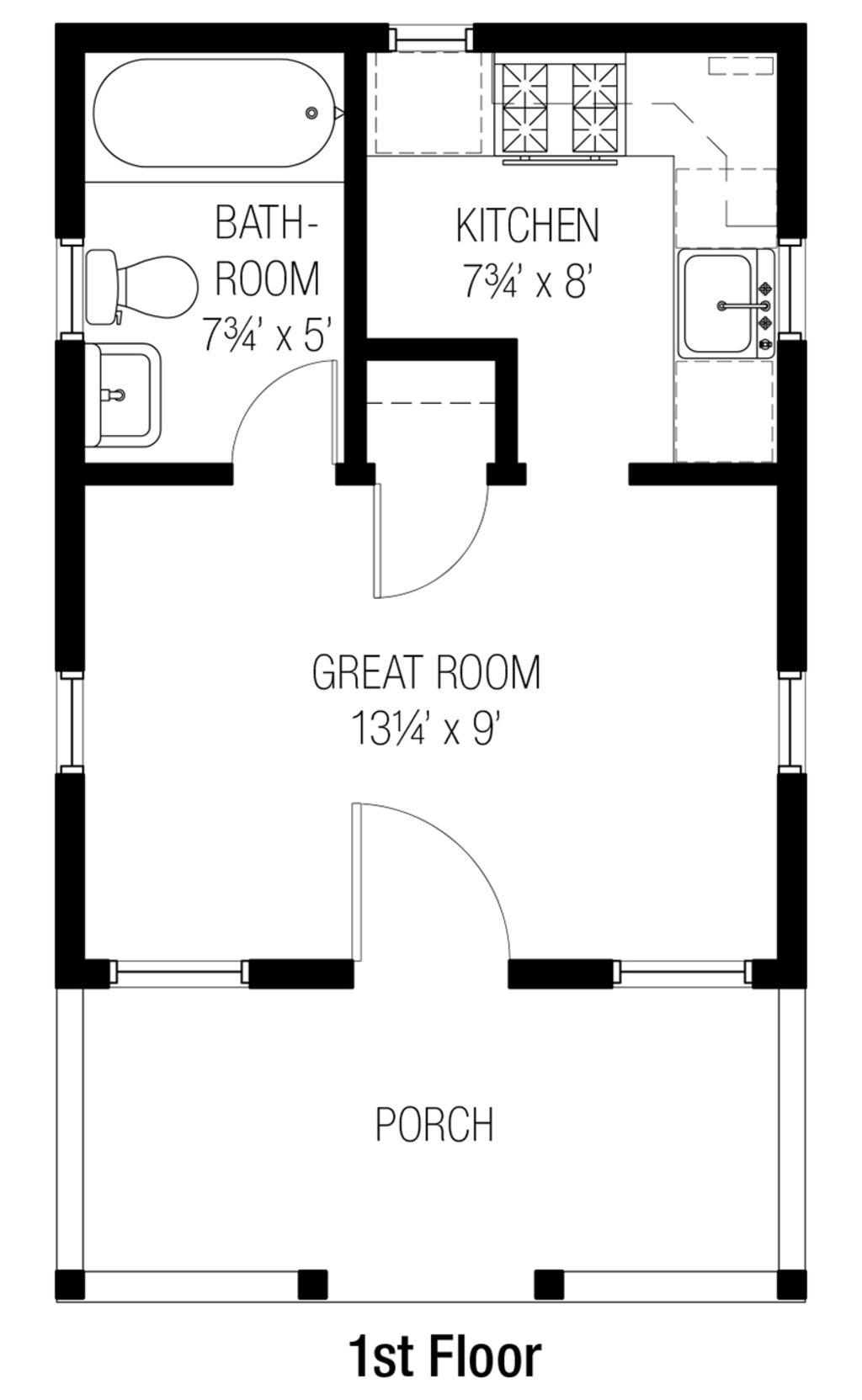 bungalow style house plan 1 beds 1 baths 261 sqft plan 915 - 9 Sq Ft Tiny House Floor Plans