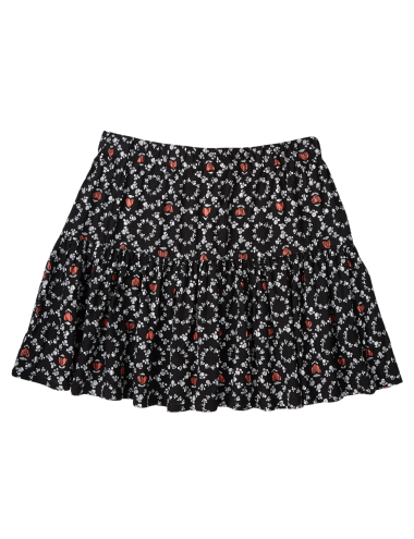 This above-the-knee skirt has an all-over paw print, an elasticated waist, and is gathered at the hip.