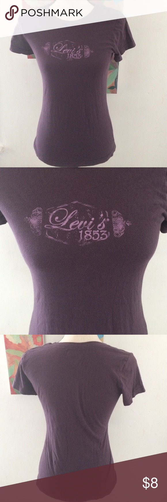 Levi's Short Sleeve Tee Women's purple Levi's t shirt. Size Small. Materials tag is cut out of the inside. I think it was 100% Cotton. Levi's Tops Tees - Short Sleeve