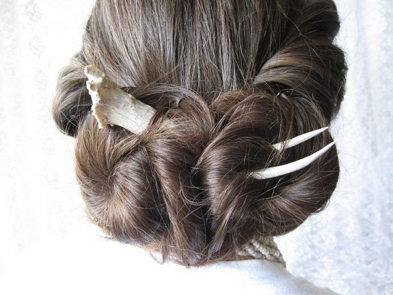 Asian Hair Sticks Antler Hair Fork Stick Bridal Comb por JCMcCairn, $72.00