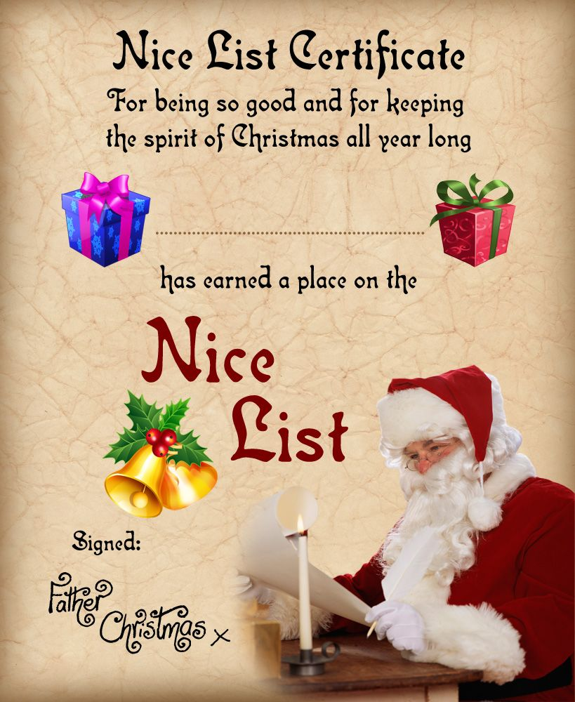 free nice list certificate from santa christmas pinterest