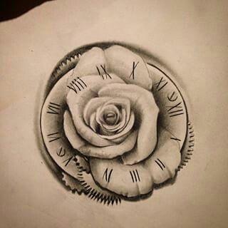 Clock And Rose Tattoo Hawaiian Tattoos Pinte