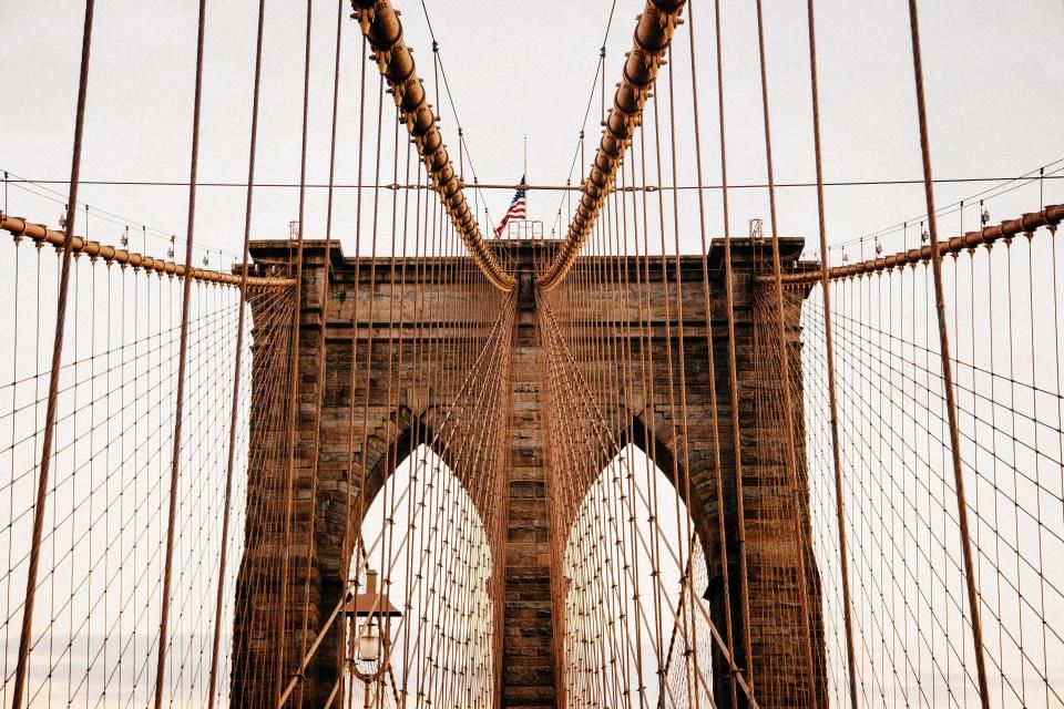 Brooklyn bridge, architecture, american, flag, New York ...