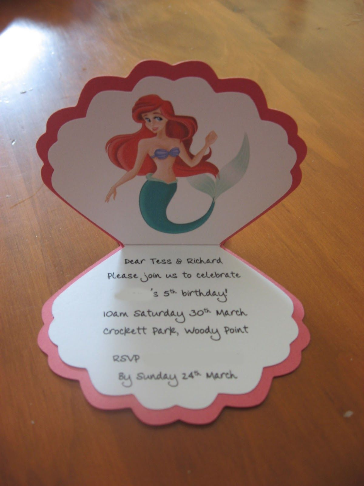 little mermaid home made party invitations | Little pieces of mee ...