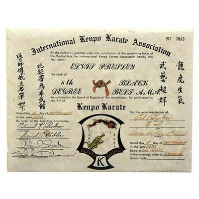 8th degree kenpo karate black belt certificate presented to elvis 8th degree kenpo karate black belt certificate presented to elvis september 4 1974 by his yelopaper Gallery