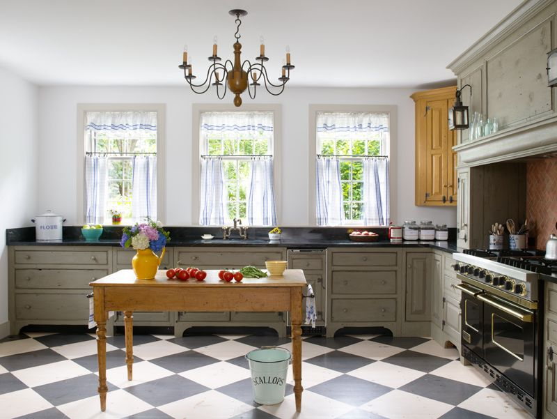 a new colonial kitchen open plan checkerboard floor and brick tiles. Interior Design Ideas. Home Design Ideas