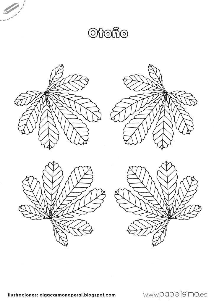 Dibujos-hojas-de-otoño-para-colorear-niños   - Children - Niños ...
