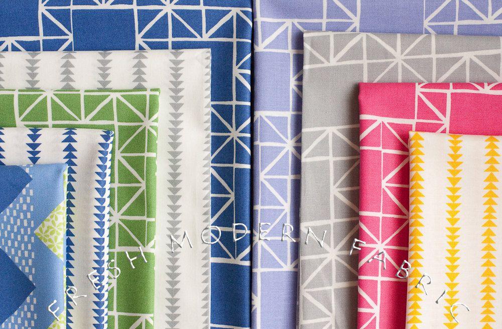 Flying Geese Stripe in Marine Blue, Ellen Luckett Baker, Moda Fabrics, 100% Cotton Fabric. via Etsy.