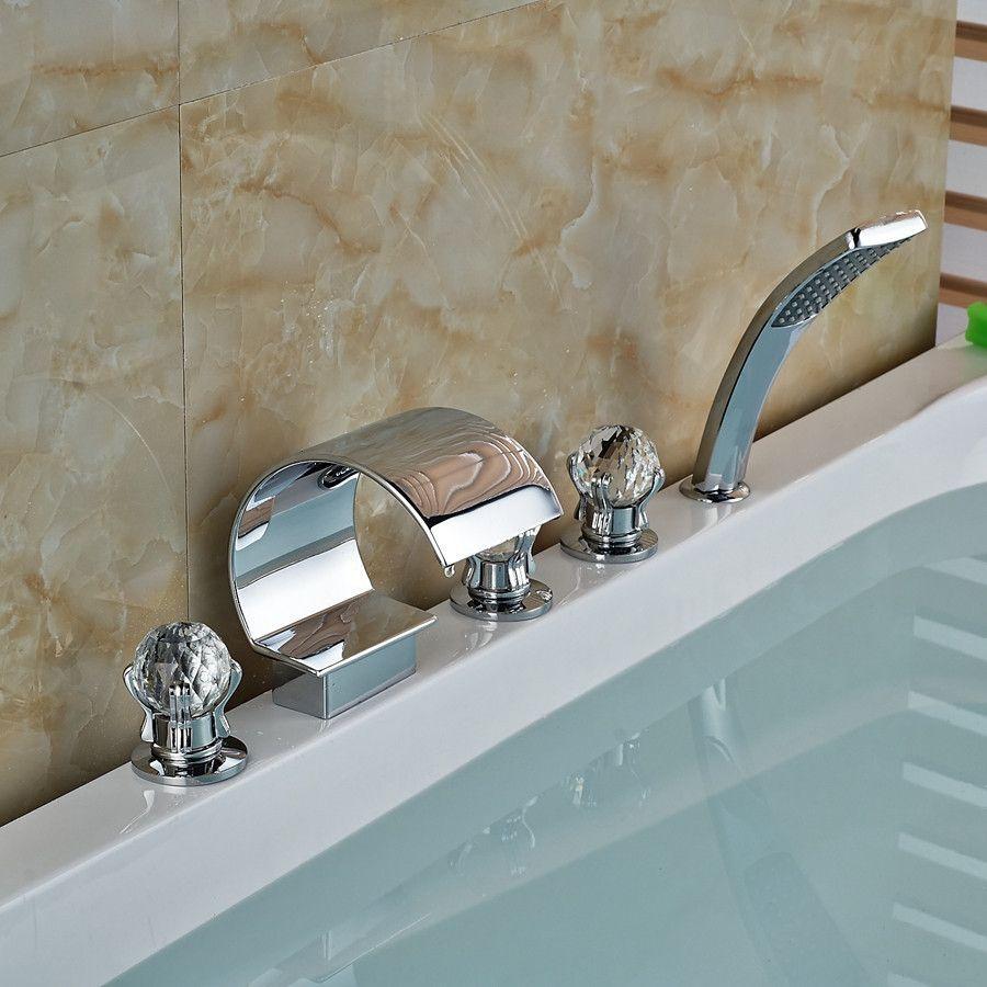Luxury Crystal Ball Handles C Curved Waterfall Bathroom Tub Faucet ...