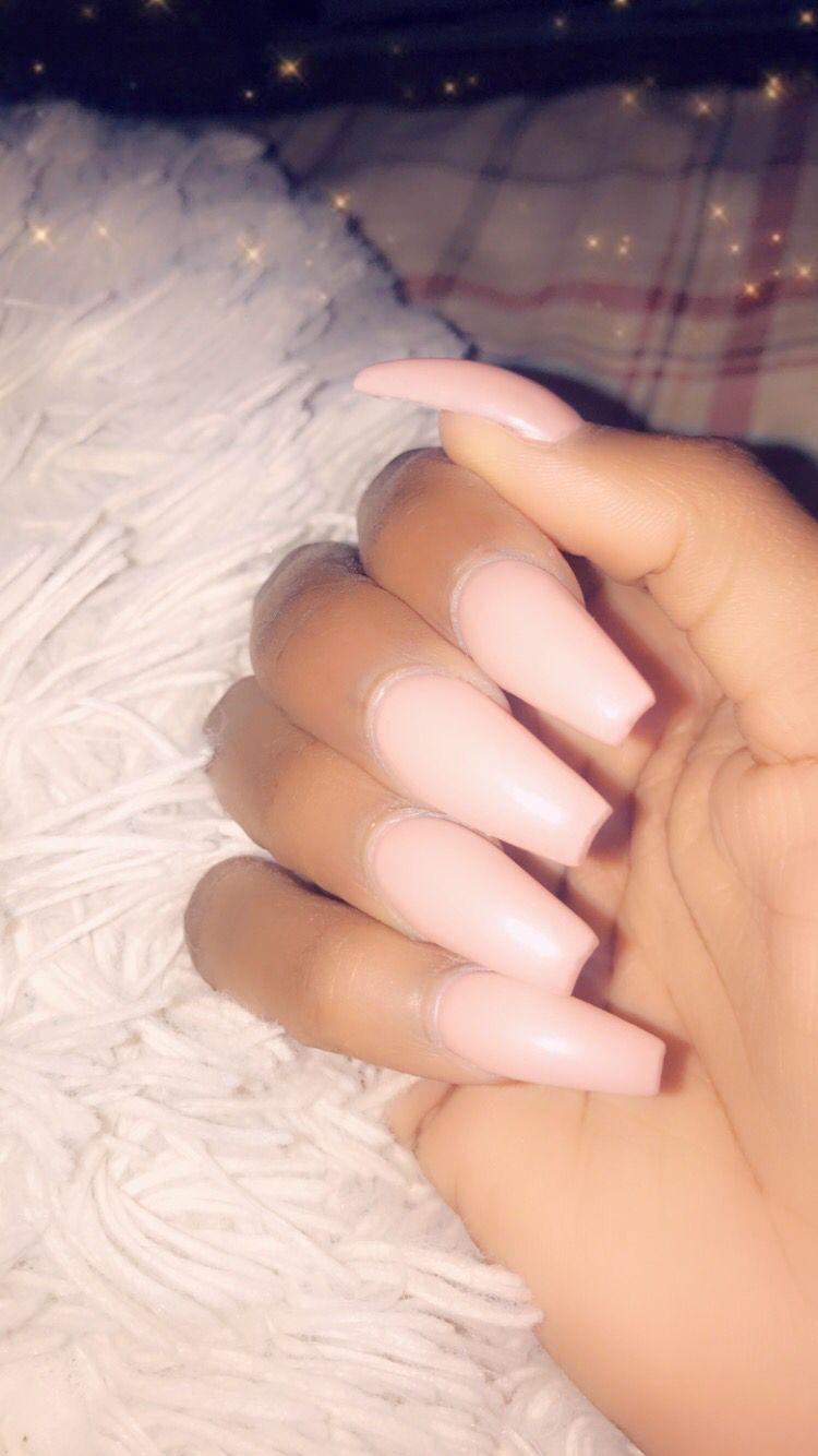 Pink Acrylic Nails Long Natural Nails Pink Coffin Nails