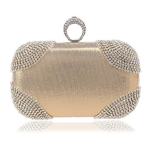 Mlotus Evening Bag Mlotus Women s Crystal Finger Evening Party Handbag Bags  Hard Box Wedding Bridal Clutch Gold ff908ca4f13a1