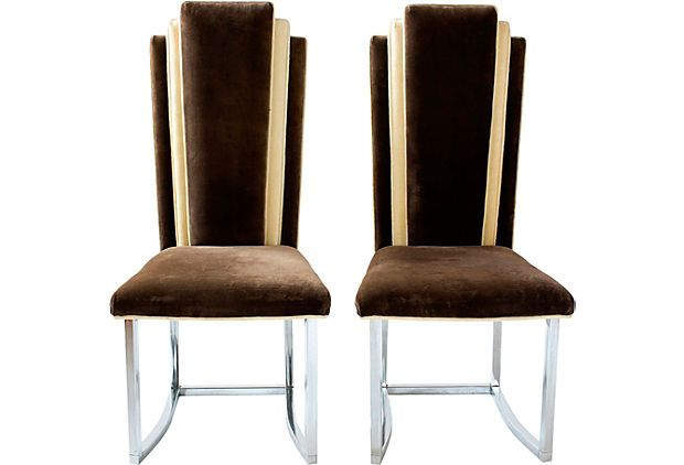 Velvet Art Deco Style Chairs Pair On Onekingslane