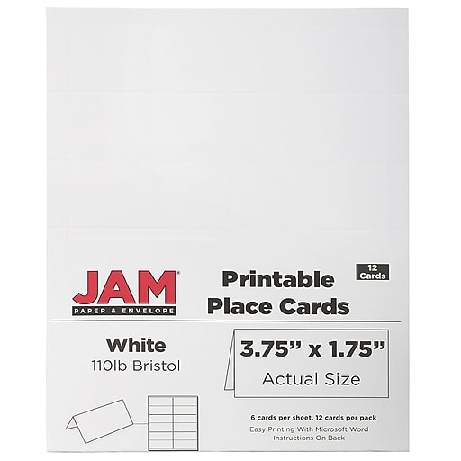 Jam Paper Printable Place Cards 3 3 4 X 1 3 4 White Placecards 12 Pack 2225916894 At Staples Printable Place Cards Jam Paper Printable Paper