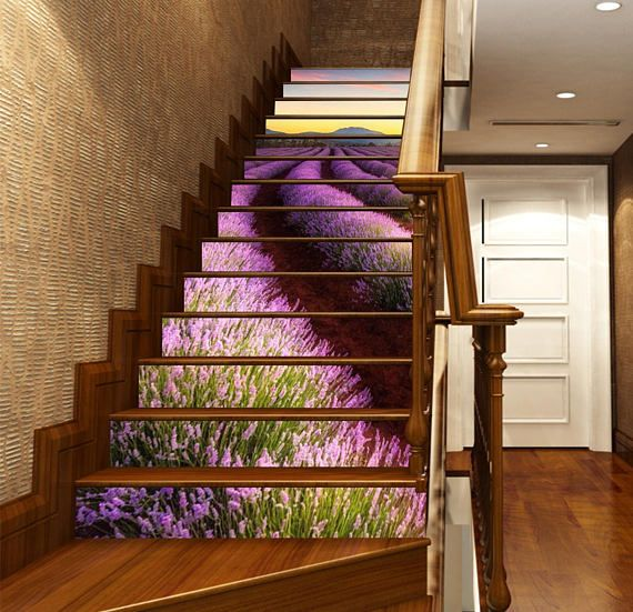 20 Attractive Painted Stairs Ideas: 3D Lavender Fields View 267 Stairway Stairs Risers