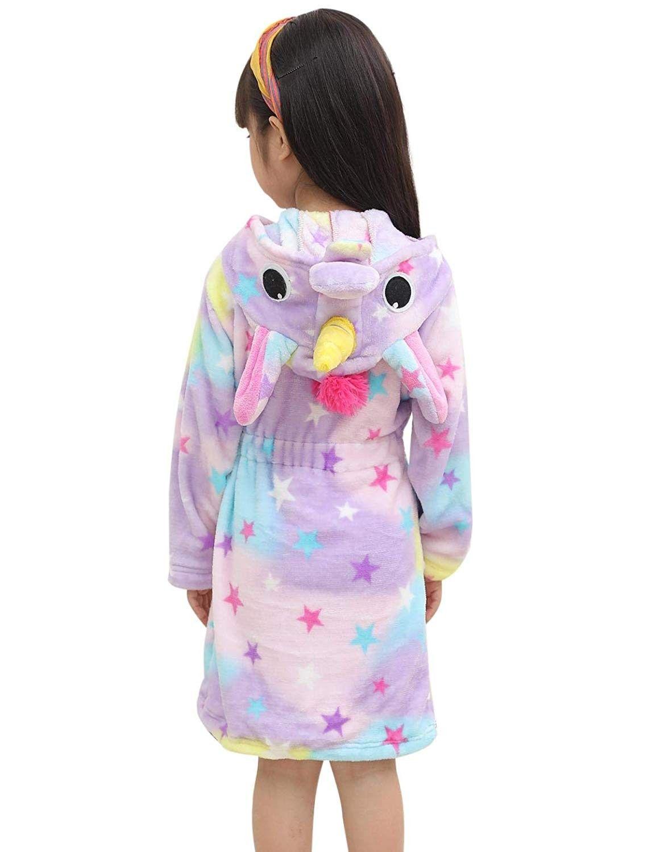 Soft Unicorn Hooded Set Bathrobe Sleepwear for Girls Doll Starry A