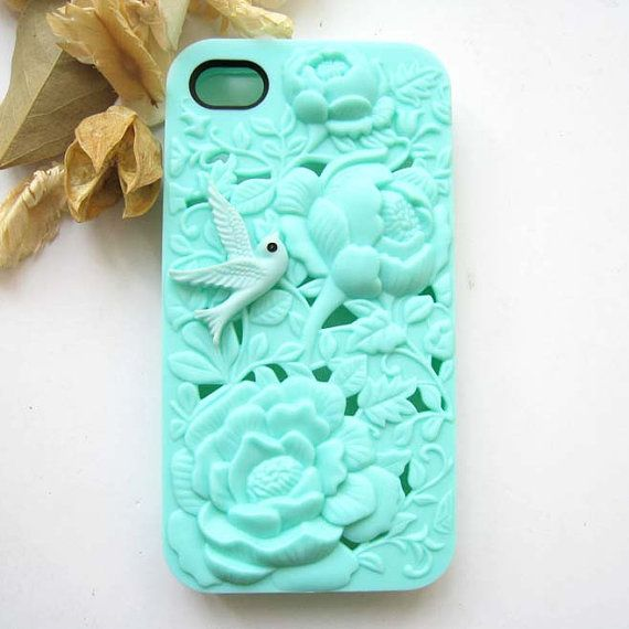 Sale (Limited Time) - Cute Resin Bird Filigree Embossed Mint Rose iPhone 4 Hard Case, iPhone 4S Hard Case