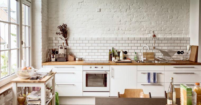 Weiße Küche Holz Arbeitsplatte - Deco Inspirationen Pinterest - arbeitsplatte holz küche