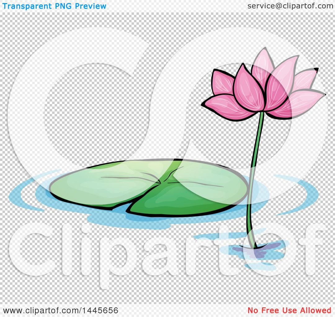 Clipart of a cartoon pink water lily lotus flower and pad royalty clipart of a cartoon pink water lily lotus izmirmasajfo