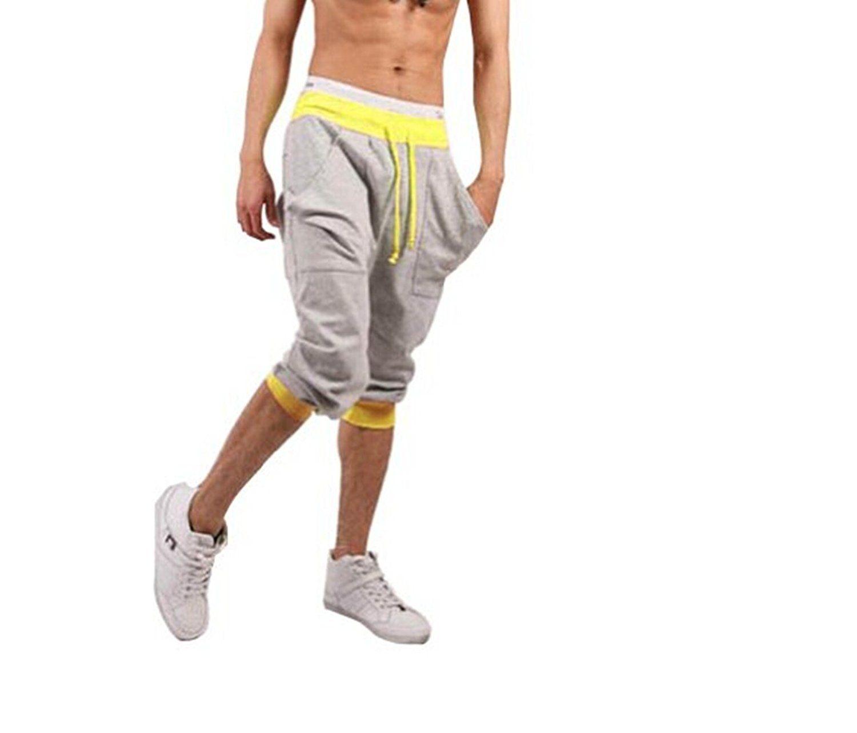 TopOne Men`s Capri Pants Cropped Pants Casual Slim Fit Harem Short ...