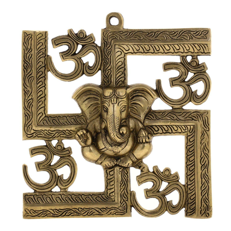 Hindu god ganesha swastika om symbol brass sculpture wall decor hindu god ganesha swastika om symbol brass sculpture wall decor 85 x 85 inches biocorpaavc